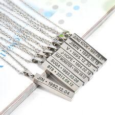 KPOP Bangtan Boys BTS SUGA JIMIN JUNG KOOK V JIN JHOPE Steel Necklace Steel Ring