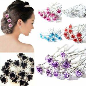 Fashion Engagement Jewelry Bridal Crystal Flower Hairpins Hair Clips Rhinestone