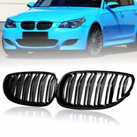 Gloss Black Kidney Grilles Grille Double Line For BMW 5 Series E60 E61 M5 03-10