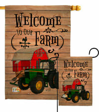 New listing Welcome To Our Farm Southern Green Tractor Farmer Barn Garden House Yard Flag