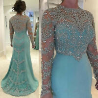 Shiny Long Sleeves Mother of the Bride/Groom Dress Beads Crystal Evening Gown