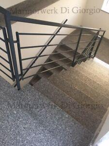 ✔ Granit Treppe 15 Stufen inkl. Stellstufen + Sockel / Rosa Beta 3cm poliert✔
