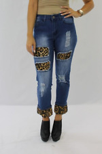 L&B Lucky and Blessed Boyfriend Jeans with Leopard Inserts - Sizes 4-22