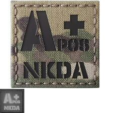 NKDA APOS Blood Type A+ infrared IR multicam tactical laser cut hook patch