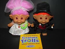 "2 Troll Dolls 4 1/2"" Treasure Troll Ace Novelty Wedding Party Bride & Groom"