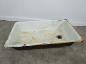 "Vtg Cast Iron White Porcelain Drop In Single Basin Kitchen Farm Sink 30"" by 18"""