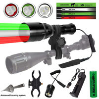 Interchangeable Green/Red/White LED Hunting Light Torch Tactical Flashlight Hog