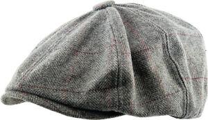 Herringbone Applejack Wool Blend Newsboy Gatsby Ivy Hat Golf Driver Ascot