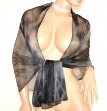ÉTOLE foulard noire grise femme châle echarpe voilé élégant scintillement a2