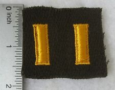 WW2 US ARMY PATCH with Set 2nd LIEUTENANT OFFICER RANK INSIGNIA on CHOCOLATE