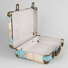 Vintage Suitcase Around The World Map Luggage Unique Travel Bag Stylish NEW