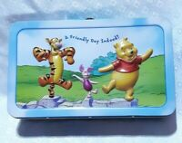 Vtg Disney Winnie the Pooh Metal Lunch Box Piglet Tigger A Friendly Day Indeed