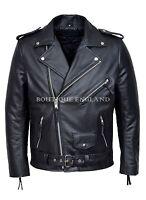 Mens Perfecto Jacket Black Genuine Cowhide Leather Brando Bikers Leather Jacket