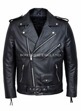 Mens Perfecto Jacket Black Genuine Cowhide Leather Brando Bikers Leather Jacket