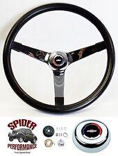 "1969-74 Nova Camaro steering wheel Red White Blue Bowtie 14 3/4"" Vintage Chrome"