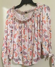 We The Free  People ivory Floral Off The Shoulder 3/4 Sleeves Top M NWT