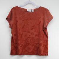 Liz Claiborne Women's Short Sleeve Top Shirt Blouse Red Size XL