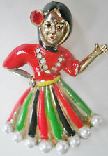 RARE CORO BAREFOOT CONTESSA VINTAGE LARGE FIGURAL PIN BROOCH LADY DANCER SIGNED