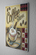 Tin Sign Fun Kitchen Decoration Coffee Break Cappuccino Metal Plate