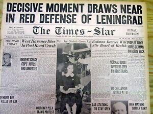 2 1941 WW II headline newspapers NAZI GERMANY begins SIEGE of LENINGRAD Russia