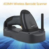 Cordless Portable Laser Barcode Scanner Reader w/ Base Wireless Range Up to 300M