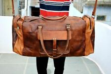 """30"""" All Brown Leather Goathide Carry On Duffle Weekend Luggage Travel Bag USA"""