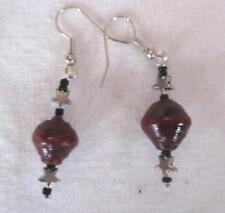 "1 Bead Dangle Earrings Dark Wine Recycled Paper Bead Silver Wire & Stars 2 """