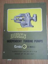 Burks Pumps Catalog~Asbestos Packings/Gaskets~Turbine/Centrifugal Pumps 1970