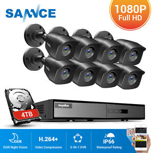 SANNCE CCTV 4/8CH DVR 1080P 5IN1 Outdoor Home Surveillance Security System Night