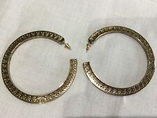 House of Harlow 1960 New & Gen. Antique Gold Plate Aztec Hoop Earrings (Pierced)
