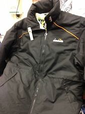 DIADORA COATS MANAGERS COAT IN SMALL TO X/L MENS IN BLACK WITH HOOD AT £25