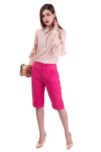 RRP €1070 DELPOZO Linen Capri Trousers Size 36 / XS Garment Dye Pleated Zip Fly