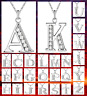 925 Sterling Silver A-Z Letter Alphabet Initial Chain Necklace CZ Crystal Stone