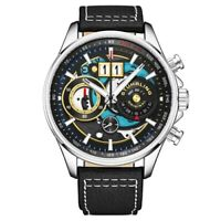 Stuhrling 923 03 Ace Aviator Quartz Chronograph Date Skeleton Leather Mens Watch
