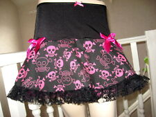 Black,pink,Blue,White Skulls,Lace tutu Skirt Lolita,Punk,Rock,Goth, All Sizes