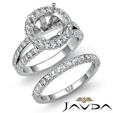Pave Diamond Engagement Ring Bridal Set 18k Gold White Round Semi Mount 2.28Ct