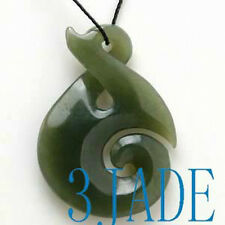 New Zealand Maori Style Twist Swirl Natural Nephrite Jade Pendant