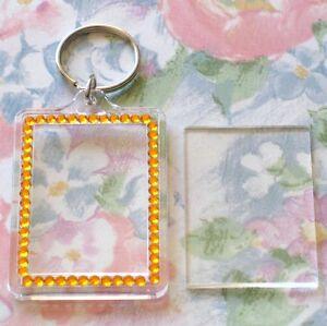 50x Blank Orange Gemstone Acrylic Keyring 50x35mm Photo Size (key ring plastic)