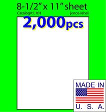 L101, 2,000 Full Sheet Labels,8-1/2x11,Laser InkJet Label
