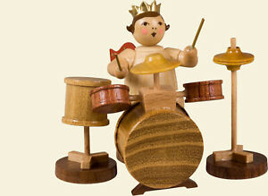 Angel With Drums Without Crown/Natural Height 6,5cm New Wooden Christmas