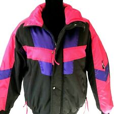 New listing Vintage Women 90s Nylon Ski Jacket Medium Alpine Black Pink Purple Retro Coat