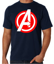 The Avengers Red And White Logo Action Sci-Fi Superhero Movie Blue T Shirt