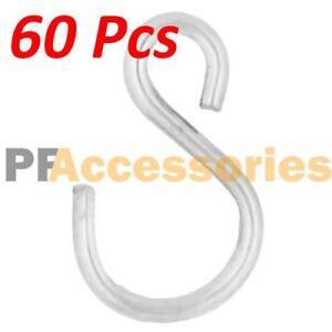 """60 Pcs 1.5"""" inch Small Zinc Plated Steel S Shape Type Utility Hooks Hangers Hook"""
