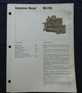 "1967 GENUINE CUMMINS ""NH-230 DIESEL ENGINE"" SPECIFICATION BROCHURE"