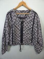 *NEW* black white CITY CHIC geo print jacket: boho zip front pocket bomber 14 16