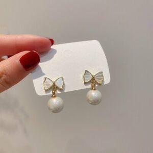 925 Silver Bow Pearl Earrings Women Ear Stud Jewelry Fashion Charm Xmas Gifts