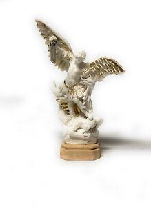 Statua di San Michele Arcangelo in resina bianca da cm. 13
