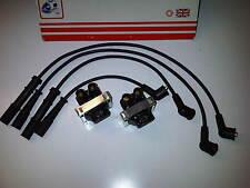 FIAT PUNTO MK2 1999-05 8v 1.1 1.2 2x IGNITION COIL PACK & SET OF HT PLUG LEADS