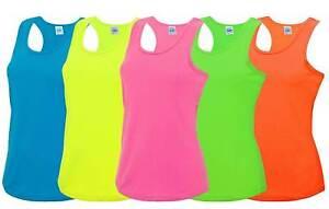 Ladies Cool Sports Vest 8-16 Workout Gym Dance Racer Back Neon Fluorescent Top