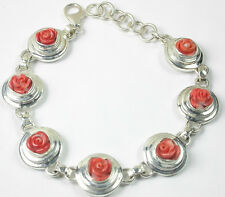 Coral Rose Bracelet Sterling Silver Elegant Jewelry Wedding Mother of Bride